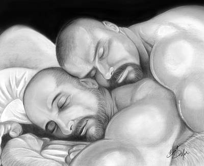 Homoerotic Drawing - Bear Love 5 by Brent  Marr