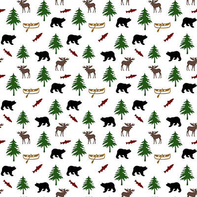 Bear Moose Pattern Art Print by Christina Rollo
