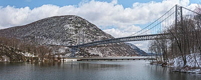 Photograph - Bear Mountain Bridge With April Snow by Angelo Marcialis