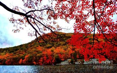 Art Print featuring the photograph Bear Mountain Hessian Lake Autumn by Janine Riley