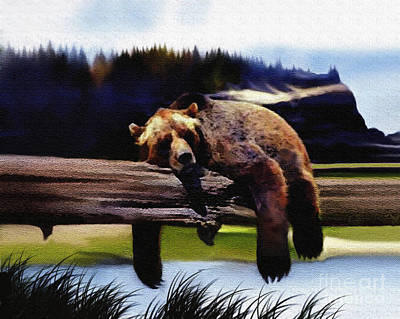 Kodiak Bear Painting - Bear Nap by Robert Foster