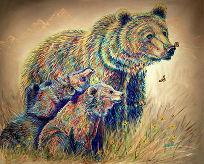 Contemporary And Colorful Abstracts Painting - Bear Necessities by Teshia Art