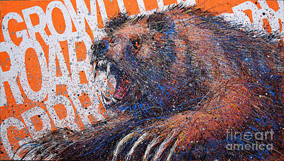 Bear On Orange Original by Michael Glass