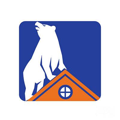 Bear On Roof Rectangle Retro Art Print