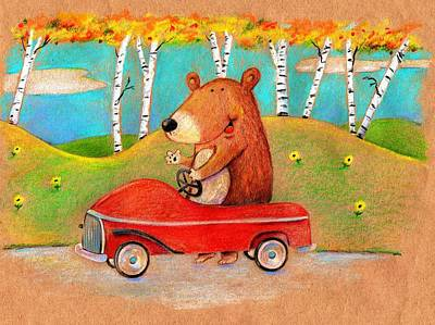 Juvenile Wall Decor Drawing - Bear Out For A Drive by Scott Nelson