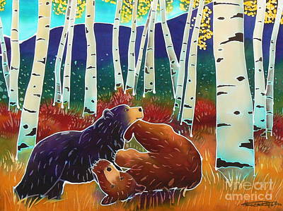Wyoming Painting - Bear Play by Harriet Peck Taylor