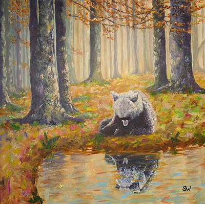 Painting - Bear Reflecting by Shirley Wellstead