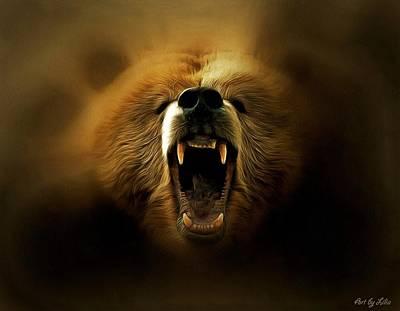 Bite Mixed Media - Bear Roar by Lilia D