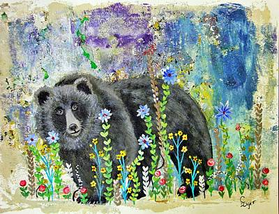 Wall Art - Painting - Bear Spotted In Garden by Carol Iyer