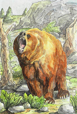 Grizzly Bears Drawing - Bear by Thacia Langham
