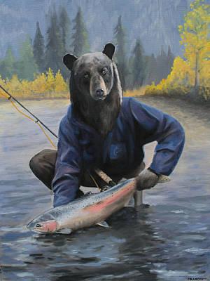 Steelhead Painting - Bear With A Steelhead by Pavel Francev