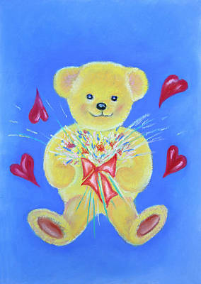 Pastel - Bear With Flowers by Elizabeth Lock