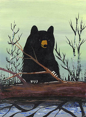 Lake Superior Art Gallery Painting - Bear With Log by Francis Esquega