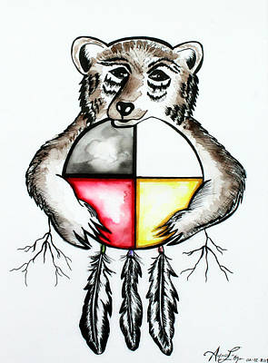 Painting - Bear With Medicine Wheel by Ayasha Loya