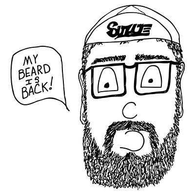 Bike Drawing - Beard Comic by Karl Addison