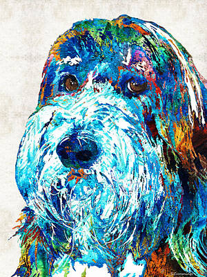 Colorful Dog Painting - Bearded Collie Art 2 - Dog Portrait By Sharon Cummings by Sharon Cummings