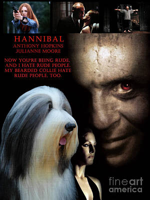 Painting - Bearded Collie Art Canvas Print - Hannibal Movie Poster by Sandra Sij