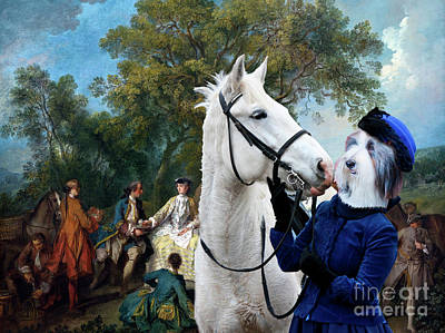 Painting - Bearded Collie Art Canvas Print - Picnic After The Hunt by Sandra Sij