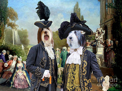 Painting - Bearded Collie Art Canvas Print - The Garden Royal Party by Sandra Sij