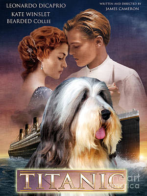 Painting - Bearded Collie Art Canvas Print - Titanic Movie Poster by Sandra Sij