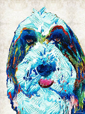 Herding Dog Painting - Bearded Collie Art - Dog Portrait By Sharon Cummings by Sharon Cummings