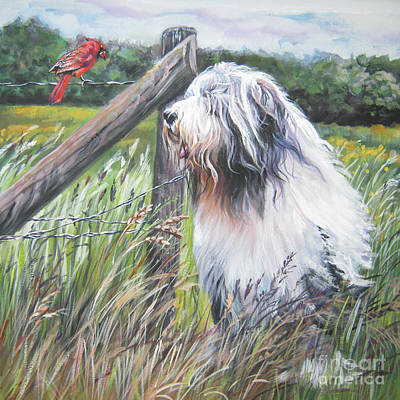 Bearded Collie With Cardinal Print by Lee Ann Shepard