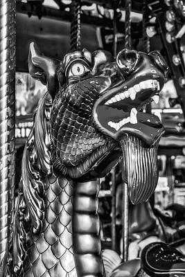 Antique Carousel Photograph - Bearded Dragon Ride Black And White by Garry Gay