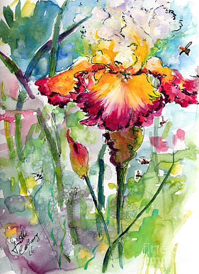 Painting - Bearded Iris And Bees Watercolor by Ginette Callaway
