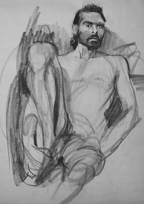 Drawing - Bearded Male Model, Hand On Ankle by Robert Holden