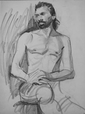 Drawing - Bearded Male Nude, Hands On Thigh by Robert Holden