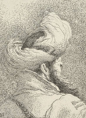Relief - Bearded Man Wearing A Turban by Giovanni Domenico Tiepolo