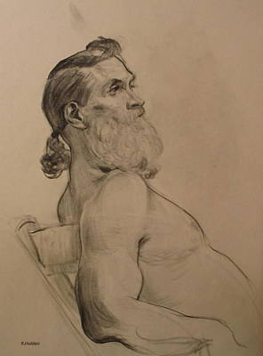 Drawing - Bearded Model Leaning Back by Robert Holden