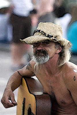 Musicians Royalty Free Images - Bearded street musician In Key West playing guitar Royalty-Free Image by Christopher Purcell