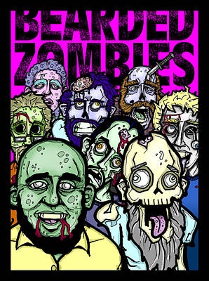 Drawing - Bearded Zombies Group Photo by Christopher Capozzi