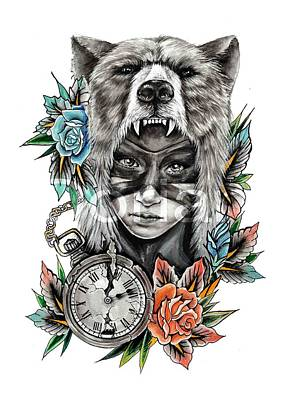 Fashion Abstraction Painting - Bear_girl by Doriana Popa