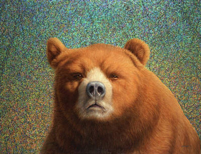Polar Bear Painting - Bearish by James W Johnson