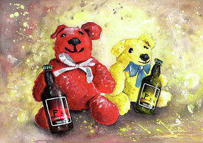 Painting - Bears And Beers From Reeth by Miki De Goodaboom