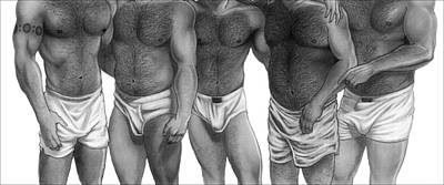 Homoerotic Drawing - Bears And Cubs Of Portland Front by Brent  Marr