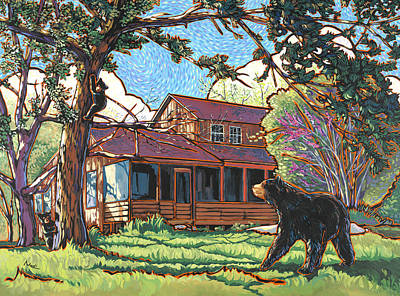 Bears At Barton Cabin Art Print