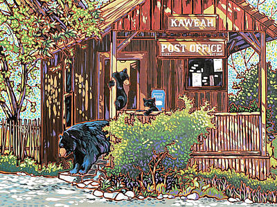 Bears At The Kaweah Post Art Print by Nadi Spencer