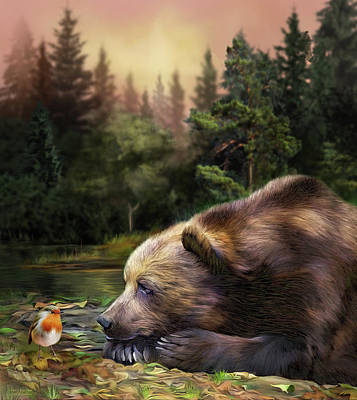 Robin Mixed Media - Bear's Eye View by Carol Cavalaris