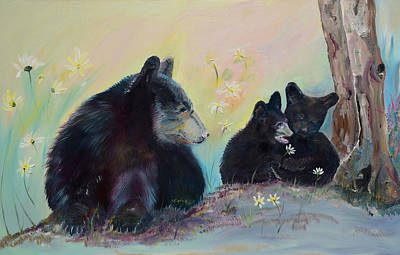 Painting - Bears Frolicking In Spring by Jan Dappen