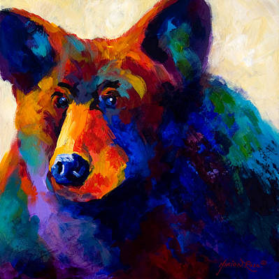 Bear Cub Painting - Beary Nice - Black Bear by Marion Rose