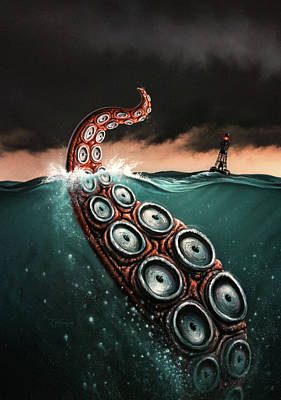Tentacles Painting - Beast 1 by Jerry LoFaro