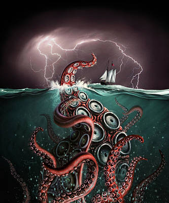 Tentacles Digital Art - Beast 2 by Jerry LoFaro