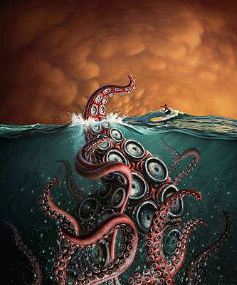 Tentacles Digital Art - Beast 3 by Jerry LoFaro