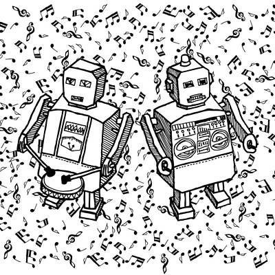 Boombox Drawing - Beat Bot - Robots by Karl Addison