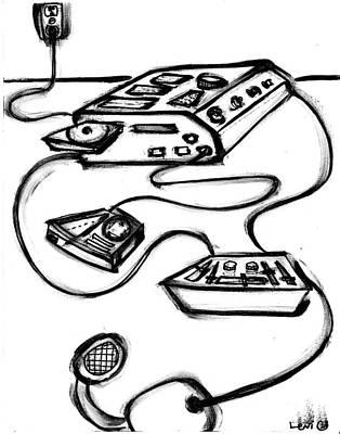 Long Center Drawing - Beat Machine by Levi Glassrock