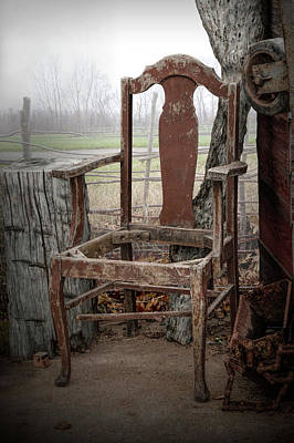 Photograph - Beat-up Old Rustic Arm Chair by Randall Nyhof