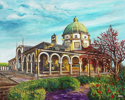 Sermon On The Mount Painting - Beatitude Monastery by Nathan Lewis